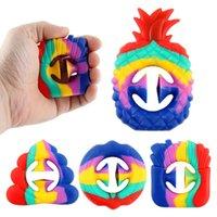 Декомпрессия пальца игрушка французская карточка фри ананасового сцепления силиконовые всасывающие чашки радуги кольцо игрушки