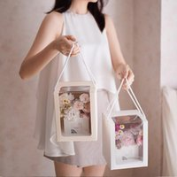 Flower Box Handbag Bouquet Packaging Clear Window Transparan...