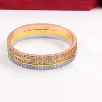 fashion Designer design Diamond screwdriver Bracelet not fade rose White gold love Bangle bracelets lovers mens womens jewelry gift gemstone bangles
