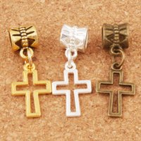 Alloy Hollow Cross Charm Big Hole Loose Beads 27.8x10.5mm Silver Gold Bronze Plated Dangle Fit European Bracelets B422 100pcs lot
