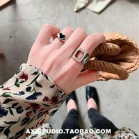 Cluster Rings S925 Sterling Silver Lovely Heart-Shaped Ins Tide Retro Cold Wind Square Fashion Cool Index Finger Ring Female Engagement