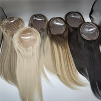 Vendita all'ingrosso Stock Monofilamento Base Guida Virgin Hair Toppers per il diradamento delle donne clip in patch