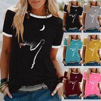 Camiseta de las mujeres de la camiseta del verano del gato del gato del gato del gato de la manga corta del cuello redondo de la manga corta de la manga grande camisetas Casual Tops S-5XL