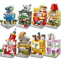 City Mini Street Розничный магазин Ville Shop Миниатюрный Строительный блок Дорога Угловой 3D Модель Кафе Leduo Бренд City Tiendas Игрушка