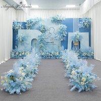 장식 꽃 화환 블루 시리즈 결혼식 꽃꽂이 인공 꽃 행 테이블 도로 리드 T 무대 배경 모서리 공 관리