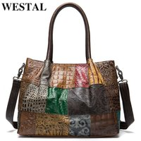 WESTAL 100% Women's Briefcases Genuine Leather Laptop Bag Female Embossing Women Office Bags Business