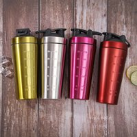 Creative stainless steel Scale cups fitness protein powder shaking cup single layer outdoor sports Water Bottle T2I52752