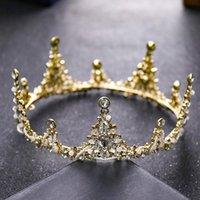 Saç Klipler Barrettes Prenses Doğum Günü Taç Tiara 2021 Altın Rhinestone Büyük High-end Styling Gelin Takı Moda Aksesuarları