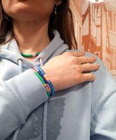 Charm Bracelets QUANCHI Blue 6mm Polymer Clay Bracelet Bohemia Handmade Stretch Stackable Heishi Beads Women Jewelry
