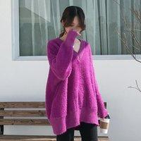 Женские свитера Lanmrem 2021 V-образным вырезом большого размера Свободный свитер Женская зимняя Корейская версия чистого цвета Мохар-нижняя рубашка PC153