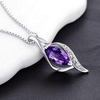 Collier en argent sterling Femmes Zircon 18Inches Box Chaîne Clavicule Purple Drop Drop Pendentif Platinum Plated