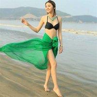 الأوشحة النساء الصلبة اللون الشيفون شاطئ وشاح شال الصيف الشمس باندانا فولار فام بيكيني التستر سارونج الحرير
