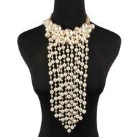 Pendientes Collar Africano Simulada Pearl Tassel Declaración Pendiente Conjunto Aleación Beads Arrow Chokers Boda nupcial de las mujeres Joyería