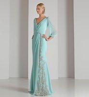 V Neck Applique Lace Evening Dress Light Sky Blue Chiffon Sheath 3 4 Long Sleeve Beaded Modern Prom Gowns