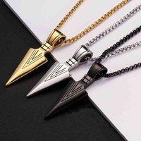 Necklace Men's Fashion Jewelry Black Gold Silver Color Arrow Head Pendant Long Chain Mens Necklaces Collier Femme Arrowhead