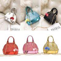 Kids PU Shell Sequin Bag Children Mini tote Shoulder Bags Girls handbag fashion designer Purse Chain Cute Handbags 8 color H52EF6G