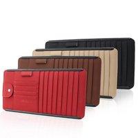 Car Organizer Universal Leather Multifunction CD Storage Box Sun Visor Case For DVD Glasses Folder Business Card Holder Bag