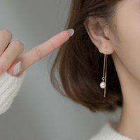 Dangle & Chandelier KAMIRA Real 925 Sterling Silver Korean Tassel Pearl Long Ear Line Chain Drop Earrings For Women Party Luxury Pierced Jew