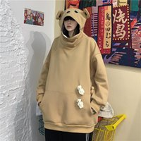 Autumn And Winter Fun Funny Bear Head Zipper Hat Long-sleeved Loose Plus Velvet Pullover Warm Casual Couple Wear Women's Hoodies & Sweatshir