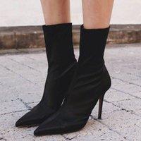 Nouvelles bottes de chaussettes femmes talons bottes élastiques pointues de bottillons pointues de chaussures de mode pour femmes avec des talons épais épais .xz-027