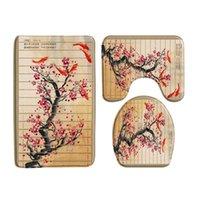 Badmattor 3st set kinesisk stil röd plommon fisk bambu utskrift mat sovrum kök icke-slip matta toalett täcker rug duschrum inredning