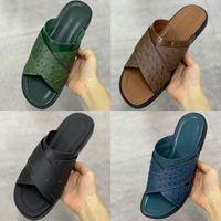 2021 Designer Sandal Sandal Hommes Foch Mules Autruch Cuir Santon Impression large Cross-over Sangles Diapositives Noir Marron Summer Mode Flip Tongs avec boîte 282