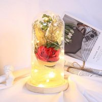 Party Decoration Creative 20LED Wooden Base Night Lights Rose Flower Glass Dome Copper Wire Fairy String Valentine Wedding Birthday Gift
