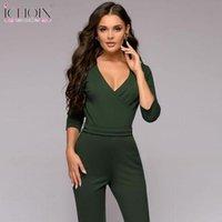 حللا للمرأة السروال القصير ichoix 2021 الأخضر طويل الأكمام الربيع بذلة النساء overal الخامس الرقبة مثير سليم السراويل الصلبة ارتداءها