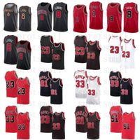 Zach 8 Lavine City Derrick 1 Jersey de basketball Rose Mens 23 Dennis 91 Rodman Scottie 33 Pippen Rouge Blanc Blanc Chemise