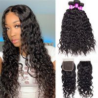 Alinybeauty Brazilian Malaysian Curly Weave Hair Water Wave Bundles With 4x4 Lace Closure Frontal, Water Wave Bundles With 4x4 Lace Closure