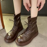 Boots Rimocy 2021 Autumn Lace Up Platform Ankle For Women Pu Leather Chunky Motorcycle Woman Fashion Back Zipper Booties
