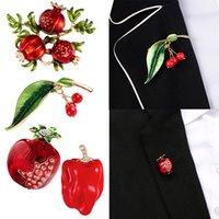 트렌디 한 에나멜 과일 모양 빨간 석류 브로치 여성을위한 녹색 잎 브로치 정장 옷깃 핀 의류 스카프 배지 165 W2