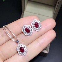 Braccialetto, orecchini Collana Set di gioielli rubino naturale Real 925 sterling argento 1pc pendente, 2 pezzi orecchini