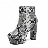 Lasperal 2019 новые ботильоны на лодыжках женская платформа для платформы мягкие змеиные искусственная кожа осень зима женские сапоги ZIP высокий каблук ботас женщина X8KI #