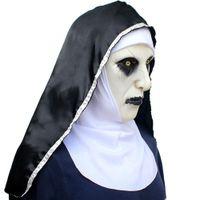 Nun masque effrayé féminin visage perruque Célébrations Halloween Theme Partie Cosplay Bar Performances Performances de nuit Carnaval Personnel Personnel