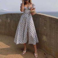 Women Fashion Puff Sleeve Lace Up High Split Dress Vintage Ladies Cottagecore Tallulah Blue White Floral Midi Dress Dropshipping Y0603
