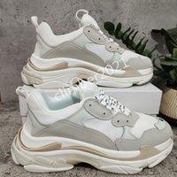 Paris Alta Qualidade Moda Sapatos Casuais Triple S Velho Pai Sapatilhas Para Homens Mulheres Aumentando Grande Tamanho Branco 35-45