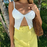 Single Button Ruched Camis Sexy Splice White Summer Camisole Ladies Casual 2021 Fashion Cropped Top Lace Women Women's T-Shirt