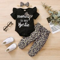 Infant Clothing Sets Girls Outfits Baby Clothes Children Suits Summer Letter Short-Sleeved Top Jumpsuit Rompers Leopard Print Trousers Headbands Three-Piece
