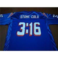 Özel 009 Gençlik Kadın Vintage Stone Soğuk Steve Austin # 3:16 Takım Blu Futbol Jersey Boyut S-5XL veya Özel Herhangi bir isim veya numara forma