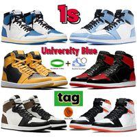 2021 1 1s Üniversite Mavi Erkek Kadın Basketbol Ayakkabıları UNC Kara Karanlık Mocha Pollen Elektro Turuncu Hiper Kraliyet Erkek Sneakers Eğitmenler ABD 5.5-12