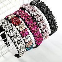 2021 Fashion Super Flash Acrylic Flower Headbands Trend Full Rhinestone Women's Hair Accessories