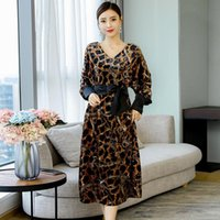 Plus Size Leopard Loose Velvet Dresses Fashion Sexy V-neck Bandage Midi Dress High Quality Soft Breathable Spring Womens Clothes Casual