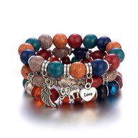 3pcs set Fashion Boho Beaded Strands Bracelets Women Elephant Love Heart Charms Bracelet Set With Colorful Gem Long Wrap for Girls