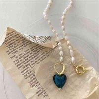 Collar perla coreano azul amor geométrico barroco moda