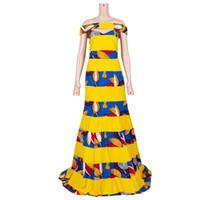 Em estoque Vestidos Afriac para mulheres Dashiki Patchwork Comprimento Tradicional Plus Size Roupas Africanas Vestido de Partido XH093 Étnico