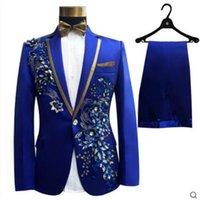 (veste + pantalon + cravate d'arc + ceinture) Mode Hommes Costumes Groom Mariage Fête du bal de mariage rouge Bleu Bleu Slim Costumes Blasers Fleur Robe formelle