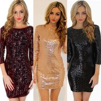 Casual Dresses 2021 Fashion Womens Christmas O- Back Long Sleeve Stretch Sequin Bodycon Party Mini Dress US