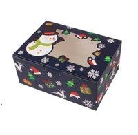 Karton Przenośny Boże Narodzenie Pudełko Party Favor Placówki Candy Cookie Pudełka z Snowman Santa Claus Gifts Card DWF10737
