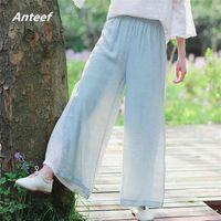 Anteef Algodão Linho Plus Size Vintage Cintura Alta Calças Loose Calças Soltas Mulheres Pantalon Femme Streetwear 210517